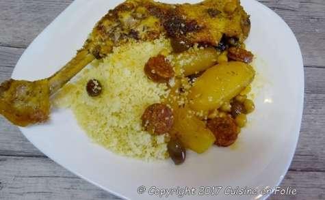 Poulet à l'espagnole, chorizo, pois chiches, poivron, épices à paella