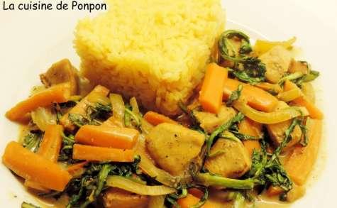 Poulet aux pissenlits et riz curry