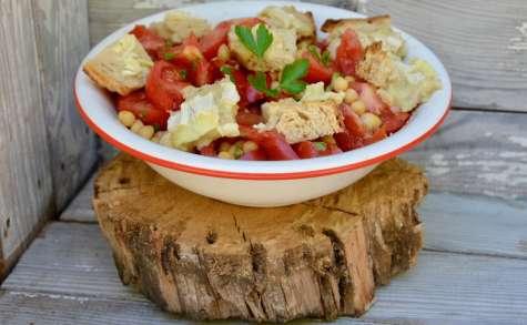 Salade pois chiches, tomates, persil, toast de chèvre