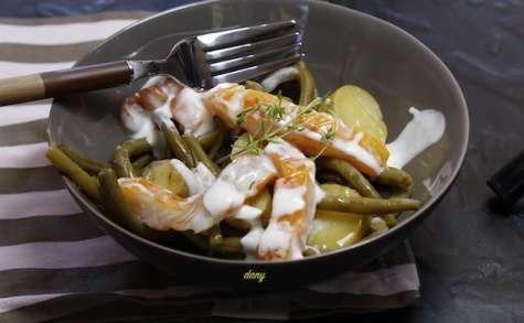 Salade de haricots verts pommes de terre haddock et sauce yaourt