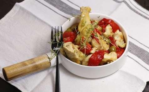 Poulet aux olives aux poivrons et aux épices
