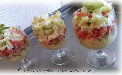 Verrine tartare de tomate, concombre, féta, thon