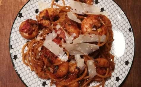 Spaghettis peperoncino aux crevettes pimentées