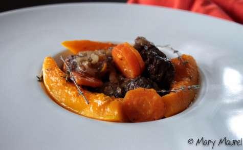 Cocotte de flanchet braisé aux carottes, potiron et vin blanc