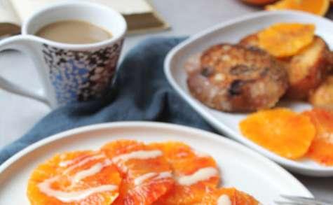 Brioche perdue à l'orange, sirop d'érable et épices