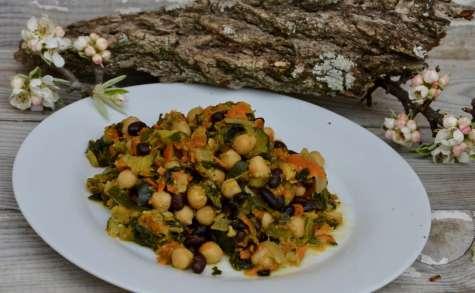 Curry vegan de pois chiches et haricots noir