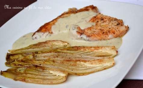Filets de poulet sauce Roquefort et chicons braisés