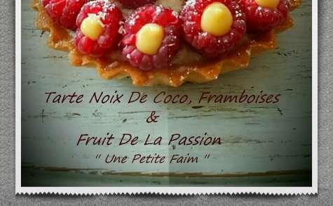 Tarte noix de coco, framboises et fruit de la passion