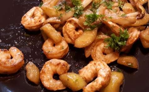 Wok de crevettes, concombre, fenouil et gingembre