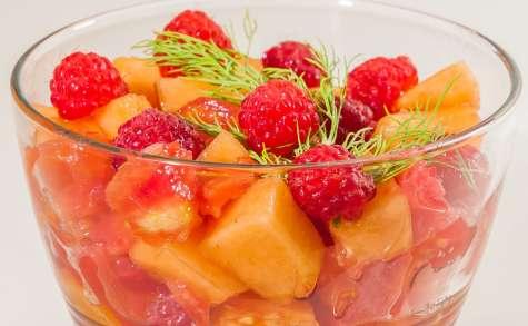 Verrine de tomate, melon et framboises
