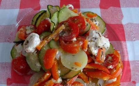 Escalope de poulet aux légumes, sauce roquefort