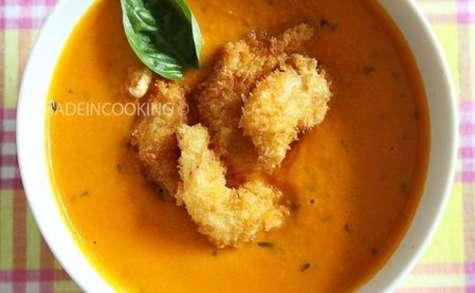 Soupe de tomates et carottes froide au basilic (crémeuse)-Crevettes tempura