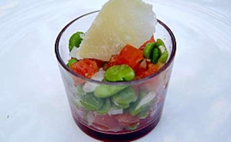 Salade de fèves aux tomates et parmesan