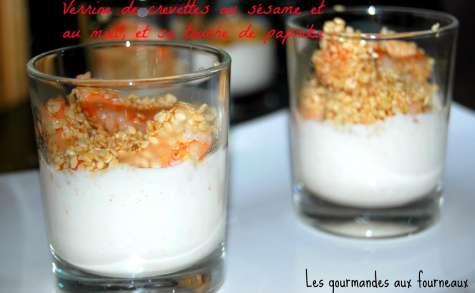 Verrine de crevettes au sésame et au miel, et sa touche de paprika