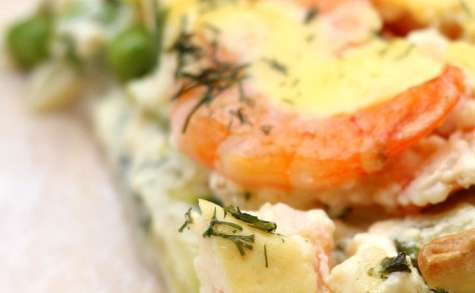 Tarte aux crevette- ricotta et courgettes