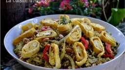 salade de riz complet et lentilles au curry