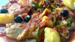 Cuisses de poulet aux 3 poivrons et aux olives de Nyons