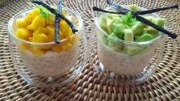 Perles du Japon au lait de coco, tartares mangue/avocat à la vanille