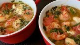Cassolettes de crevettes à l'ail et feta
