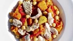 Court-bouillon de poissons et compotée de légumes