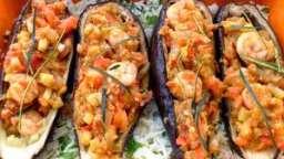 barquettes d'aubergines aux crevettes