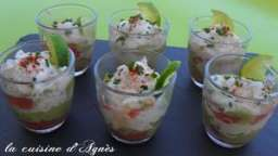 verrine guacamole au crabe et pamplemousse
