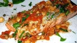 saumon rôti câpres et noisettes