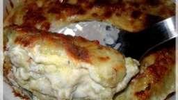 gratin de ravioles à la crème d'ail et au sbrinz