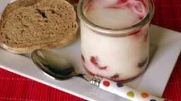 Mousse fromage blanc et framboises