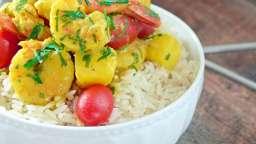 Cari de Crevettes au Lait de Coco, Ananas et Tomates