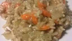 Risotto aux carottes, fenouils et viande hachée