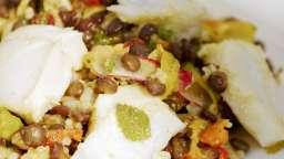 Cabillaud aux lentilles, légumes, herbes et épices