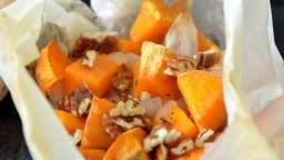 Papillotes de patates douces aux noix de pécan