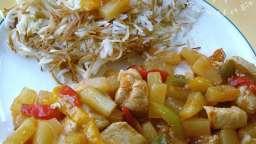 Poulet à l'ananas, sauce aigre douce