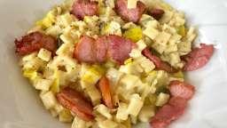 Risotto de crozets poireau et lardelles grillées