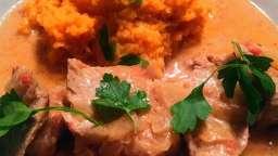 Filet mignon au cidre et sa purée de patates douces