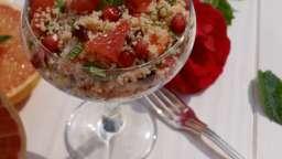 Taboulé au pamplemousse crevettes menthe grenade et cranberries