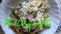 Penne rigate aux fèves et artichauts violets