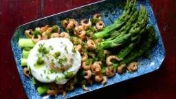 Asperges, crevettes, œuf et coulis d'oseille