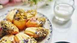 Madeleines, cœur de framboise, coque de chocolat blanc - Gratinez