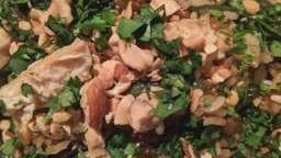 Riz sauté au poulet et haricots verts