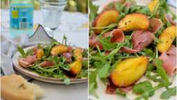Salade aux pêches et jambon cru