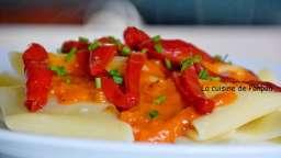 Pâtes au confit de poivrons rouges, sans viande