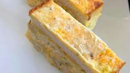 Croque cake poulet curry cheddar