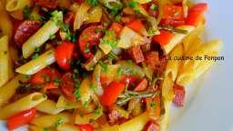 Pâtes au chorizo, poivron et salicorne