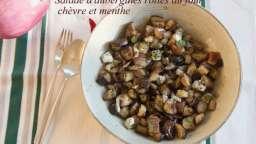 Salade d'aubergines rôties au four, chèvre et menthe