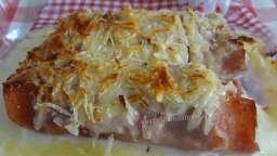 Courgette gratinée roulée au jambon