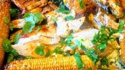 Poulet au beurre de gingembre et ses épis de maïs