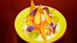 Bouillon coco basilic, légumes primeurs