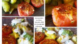 Concombre au four et tomate rôtie, vinaigrette crémeuse au yaourt, à la moutarde et à la sauce soja